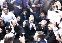 NC leaders protesting in Srinagar on Tuesday. -Excelsior/ Shakeel