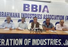 FoIJ chairman Lalit Mahajan addressing a press conference at Bari Brahmana on Thursday.