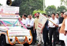 Governor Satya Pal Malik flagging off 'Saubhagya Raths' on Wednesday.