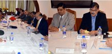 Governor Satya Pal Malik chairing security review meeting in Srinagar on Saturday.