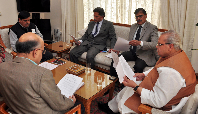Governor Satya Pal Malik presiding over the SAC meeting in Jammu on Wednesday.