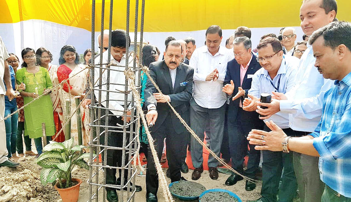 Union Minister Dr Jitendra Singh laying the foundation stone of