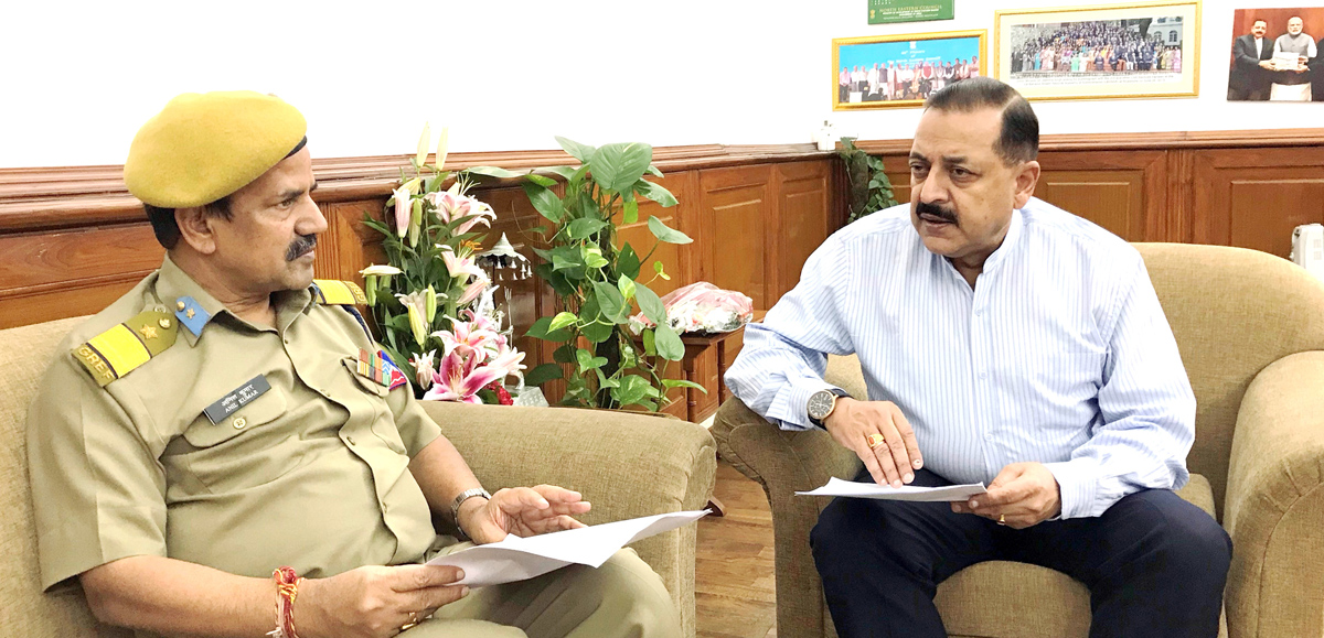 Union Minister Dr Jitendra Singh being briefed about the current status of BRO works in Kathua by Chief Engineer In-Charge Bridges & Tunnels Anil Kumar, at New Delhi on Tuesday.