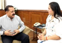 Mumbai based film actor and social activist, Preeti Sapru calling on Union Minister Dr Jitendra Singh, at New Delhi on Monday.