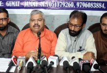 Representatives of Muslim Rashtriya Manch at a press conference at Jammu on Tuesday. —Excelsior/Rakesh