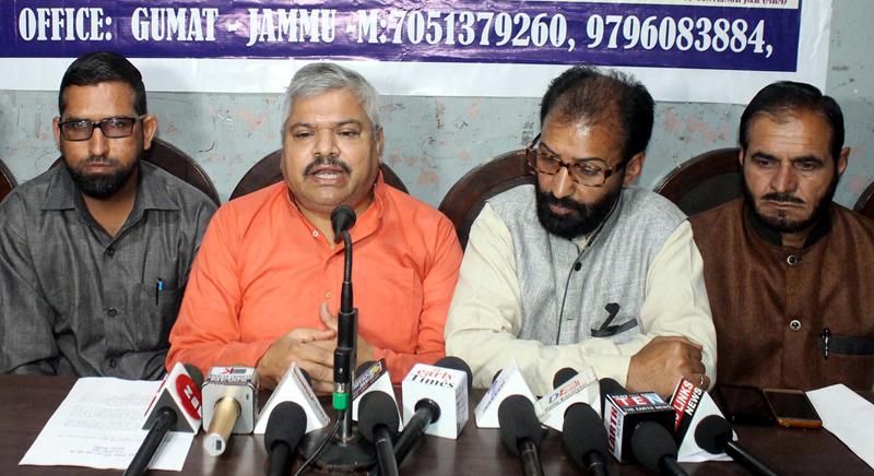 Representatives of Muslim Rashtriya Manch at a press conference at Jammu on Tuesday. —Excelsior/Rakesh