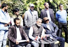 Jammu Kashmir Awami Forum addressing press conference on Monday. -Excelsior/ Shakeel