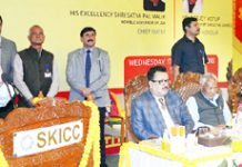 Governor S P Malik addressing a function organised by J&K Bank at SKICC on Wednesday.