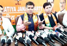 BJP leaders at a press conference at Party Headquarters, Trikuta Nagar on Sunday.