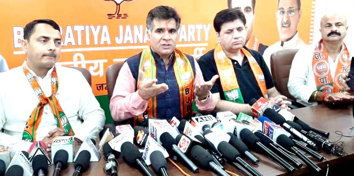 BJP leaders at a press conference at Party Headquarters, Trikuta Nagar on Sunday.