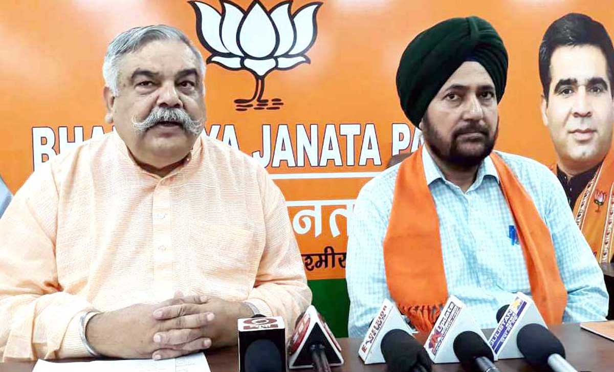 BJP leaders at a press conference at Jammu on Monday. -Excelsior/ Rakesh