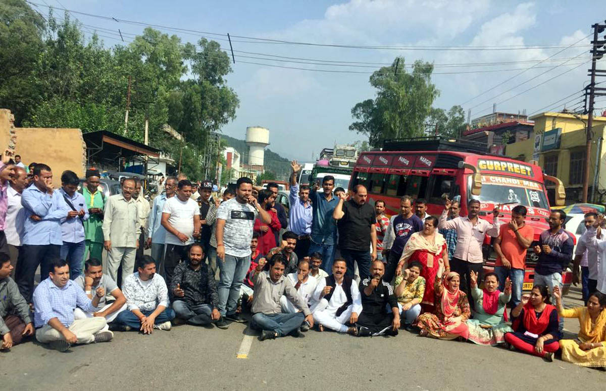 NPP leaders and activists staging protest at Udhampur on Thursday. -Excelsior/K Kumar