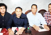 MES Builders Association representatives at a press conference at Jammu on Monday. -Excelsior/ Rakesh