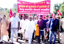 Senior NC leader, Ajay Sadhotra leading protest rally of farmers at Phallain Mandal in Marh on Sunday.