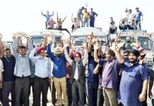 Drivers of oil tankers raising slogans during protest at Jammu on Monday.