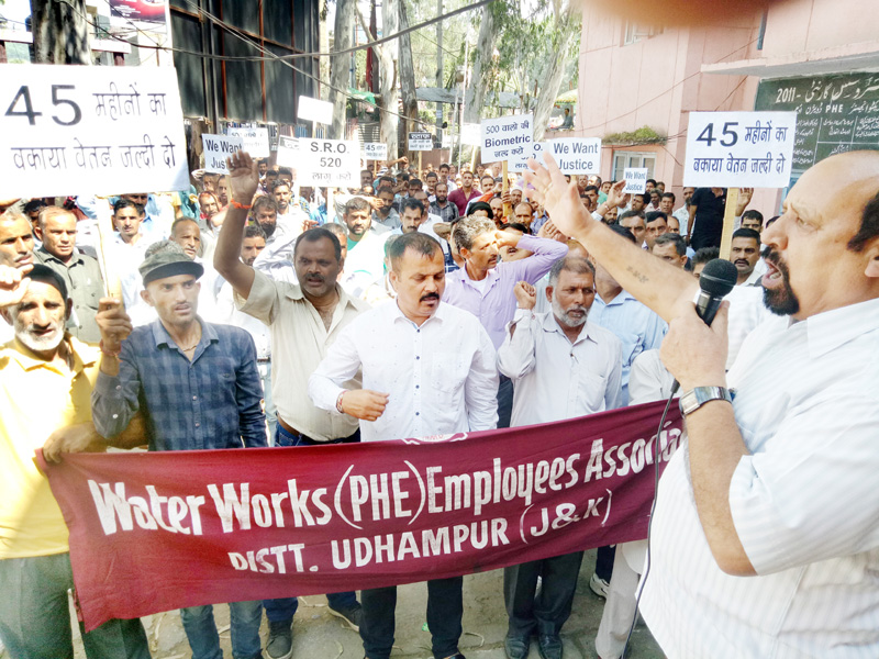 INTUC district president, Som Nath addressing PHE workers rally at Udhampur on Wednesday.