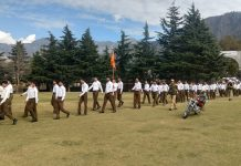 RSS activists taking out route march in Kishtwar on Thursday.