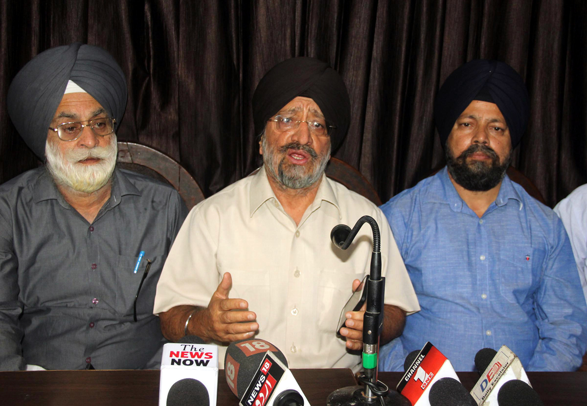 Chairman SGPB, TS Wazir addressing press conference in Jammu. -Excelsior/ Rakesh