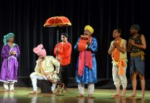 A scene from play 'Bawa Jitto' staged by Natrang Theatre Group at Katra on Sunday.