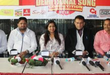 Dignitaries during interaction with media persons at Jammu on Tuesday.