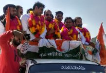 Youth Cong activists during rally at Rajouri on Thursday.