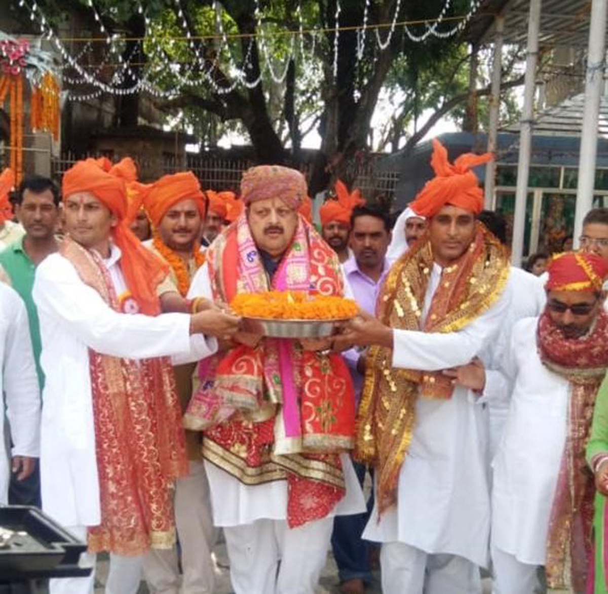 NC Provincial President Devender Singh Rana flagging off yatra from Kol Kandoli temple on Wednesday.