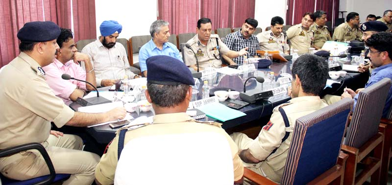IGP Jammu Zone Dr SD Singh chairing a meeting at Jammu on Friday.