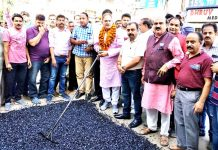 Former Deputy CM & MLA Kavinder Gupta and MLC Vikram Randhawa kick starting macadamization of road in Patel Nagar area of Gandhi Nagar Constituency on Friday.