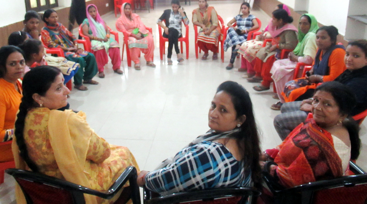 Pradesh Mahila Cong chief, Indu Pawar during party workers' meeting in Jammu on Tuesday.