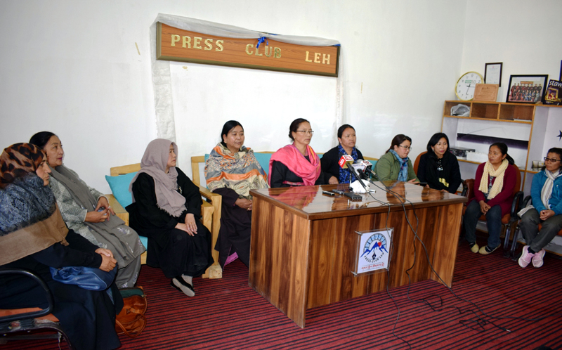 Women activists during interaction with media persons at Leh. -Excelsior/Morup Stanzin