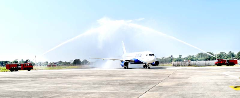 Water cannon salute being given to first aircraft arriving on the newly constructed Taxi track at Jammu Airport on Friday.
