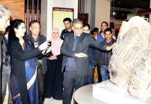 Joint Secretary Ministry of Culture, GoI Nirupama Kotru going around the SPS Museum in Srinagar on Friday.