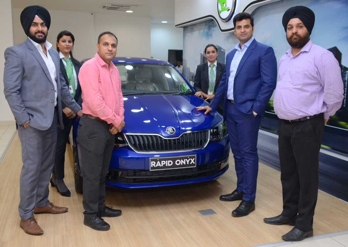 Officials of Wheelocity Motors unveiling Rapid ONYX at Jammu on Thursday.