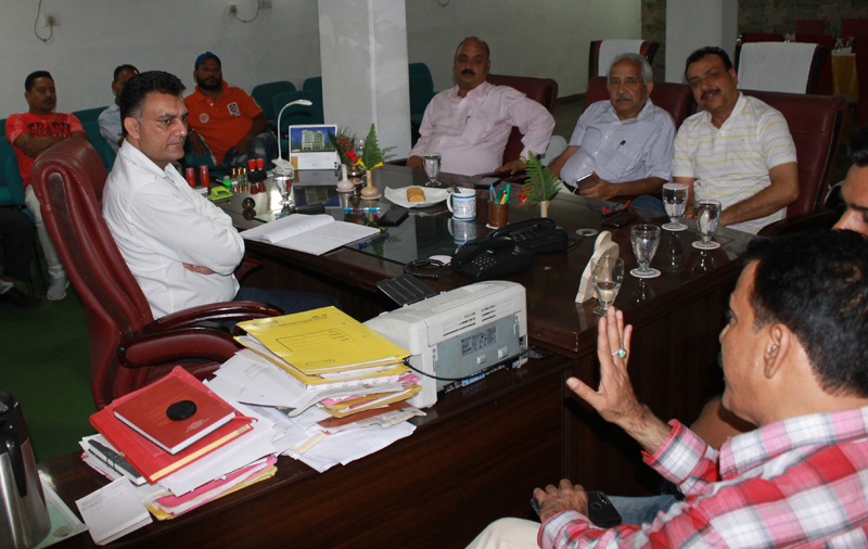 Rakesh Wazir chairing the meeting of All India Devotional Song Competition Committee at Katra on Monday.