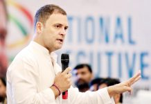 Congress President Rahul Gandhi addressing the Indian Youth Congress (IYC) National Executive, in Jaipur on Wednesday. (UNI)