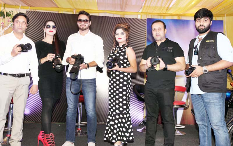 Nikon's Z 7, the first FX-format mirrorless camera, being launched by officials of the company at Sunny Farm in Jammu. -Excelsior/Rakesh