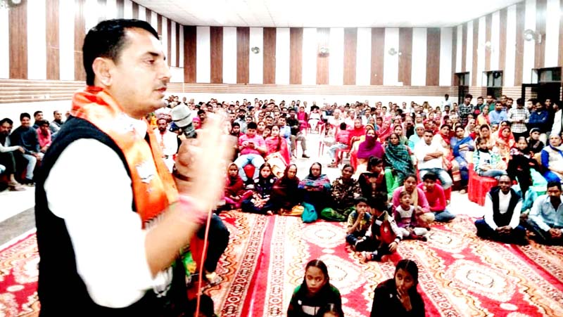 R S Pathania, MLA, Ramnagar addressing a rally on Tuesday.