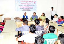 A speaker at a seminar on contributions of Maharaja Hari Singh at Jammu University on Tuesday.