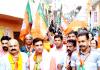 BJP general secretary, Yudhvir Sethi during door to door campaign in Jammu East on Tuesday.