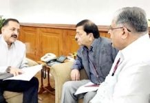 "Union Minister Dr Jitendra Singh discussing the CVC Report on India's ""Top 100 Bank Frauds"" with Vigilance Commissioners T.M. Bhasin and Sharad Kumar, at North Block, New Delhi on Wednesday."