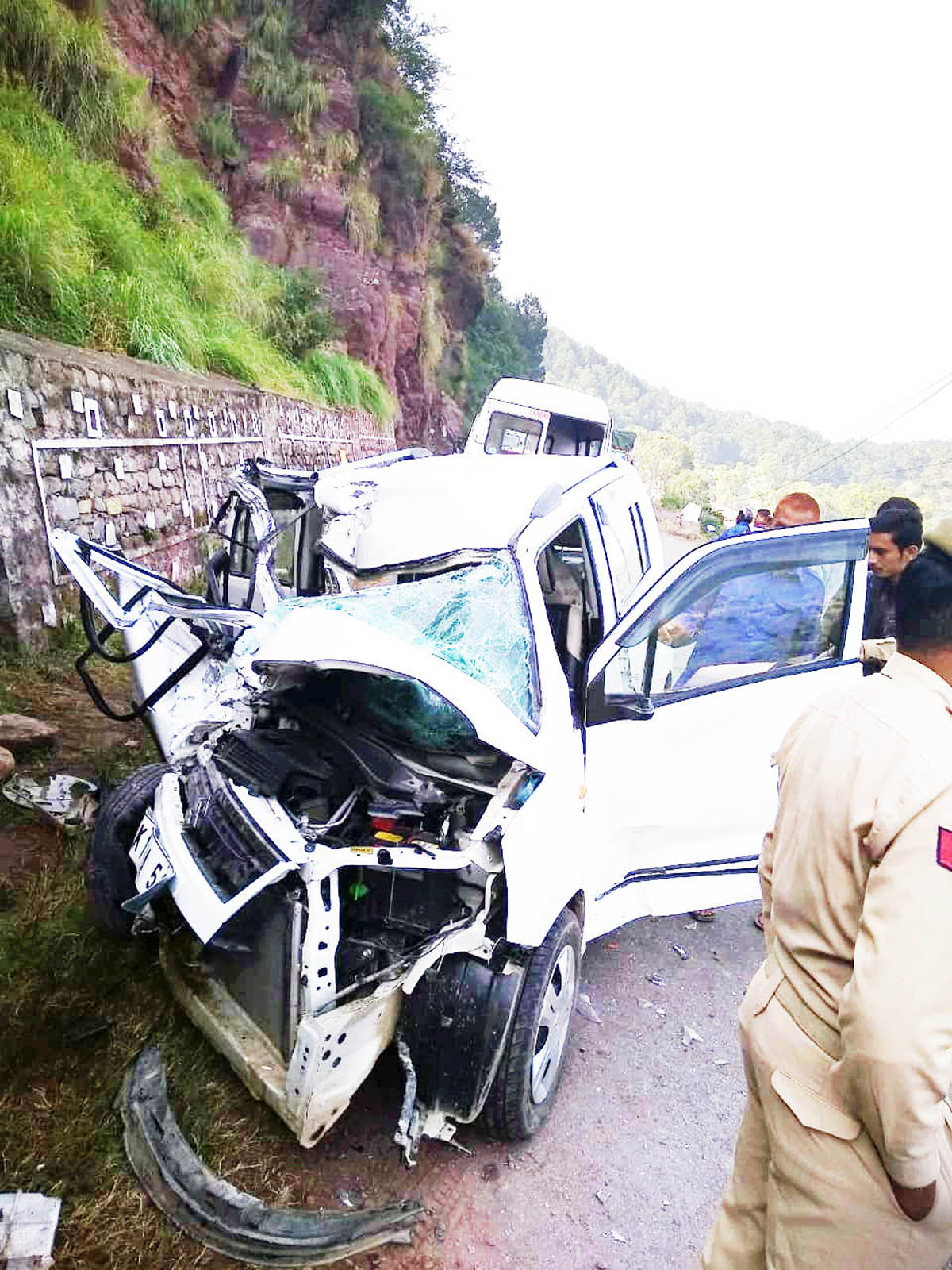 Ill-fated car which met with accident near Nowshera. -Excelsior/Bhat