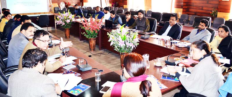 Secretary RDD Sheetal Nanda chairing a meeting on Friday.