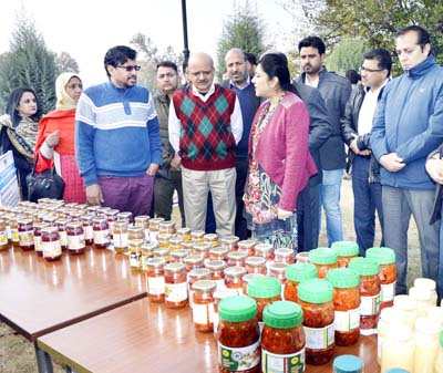 Chief Secretary inspecting products put on display at an exhibition on Wednesday.