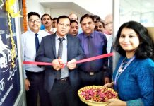 Chairman J&K Grameen Bank, Janak Raj Angural inaugurating new premises of regional office Jammu at Channi Himmat on Tuesday.