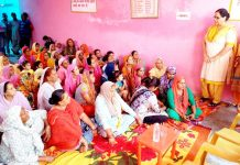 National Conference leader Bimla Luthra addressing women at R.S Pura on Tuesday.