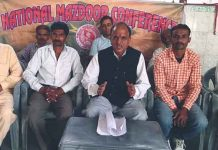 National Mazdoor Conference President, Subash Shastri addressing a meeting at Jammu on Friday.