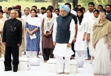 Former President Pranab Mukherjee, former vice president Md. Hamid Ansari, former Prime Minister Manmohan Singh, UPA Chairperson Sonia Gandhi attending a prayer meeting after paying tribute to former Prime Minister Indira Gandhi on her 34th death anniversary at Akbar road, in New Delhi on Wednesday. (UNI)