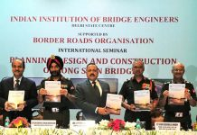 Union Minister Dr Jitendra Singh, flanked by Vice Chief of Staff Lt. Gen. Devraj Anbu, DG BRO Lt. Gen. Harpal Singh, E-in-C Lt. Gen. S.K. Srivastava and other dignitaries, releasing the BRO Book, at the inaugural session of 2-day International Seminar on Bridges & Tunnels, at New Delhi on Thursday.