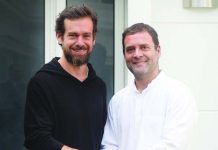 Congress President Rahul Gandhi with Jack Dorsey, Co Founder and CEO of Twitter, in New Delhi on Monday. (UNI)