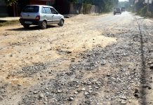 Shakti Nagar - Akhnoor road, which is being used as main road due to construction of National Highway, in worst condition. —Excelsior/Rakesh
